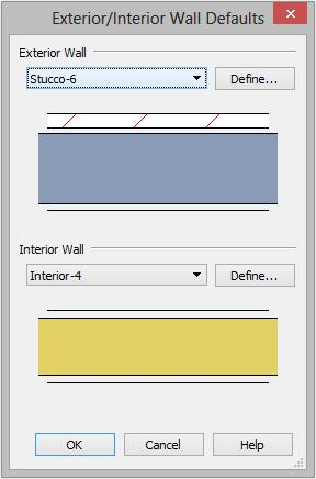 "Setting Defaults To set the Wall Defaults 1. In the Default Settings dialog, click on the arrow next to ""Walls"", select ""Exterior/Interior Wall"" and click the Edit button. 2."