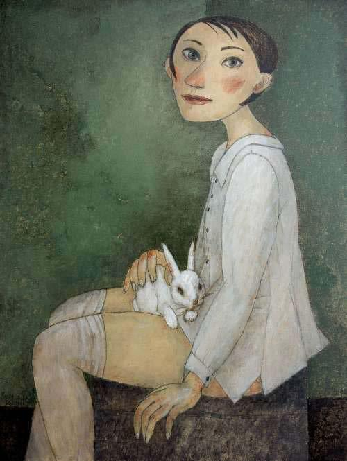 Girl with Rabbit Oil on
