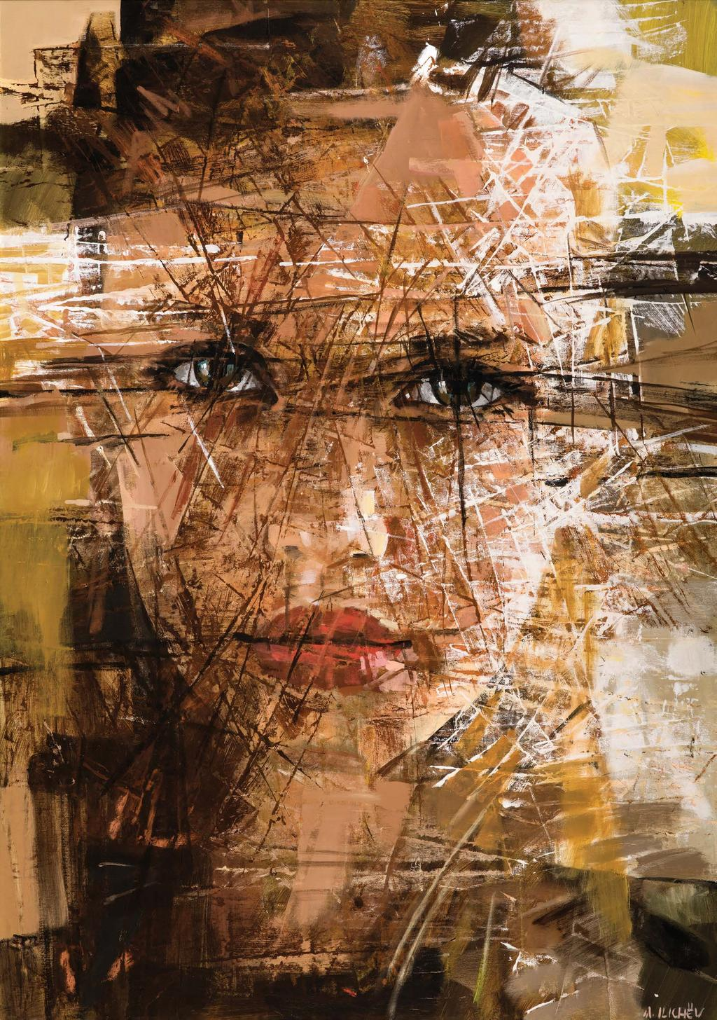 Russia Alexander Ilichev Alexander Ilichev paints portraits using spots of color, lines and dots creating a textural appearance.