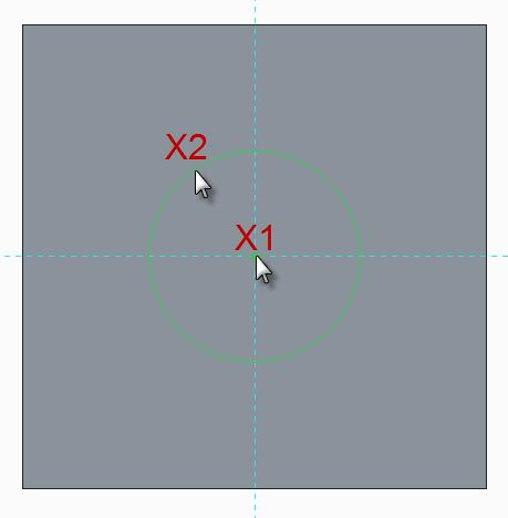 Move the cursor away from the center and click at X2 to complete the circle. Middle-click in the graphics area to deselect the circle tool.