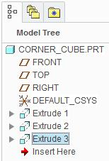 The new Extrude feature is added to the bottom of the model tree. 11. Saving your work: In the Quick Access toolbar, click Save.