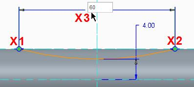 Click to select the horizontal reference line at X1 in the illustration below. Click the arc at X2.