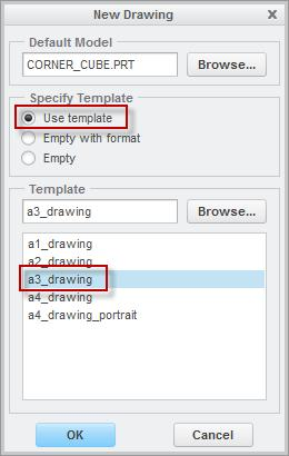 Step 2: New engineering drawing Drawing templates in Creo Parametric will use the part open on screen as the basis for an engineering drawing.