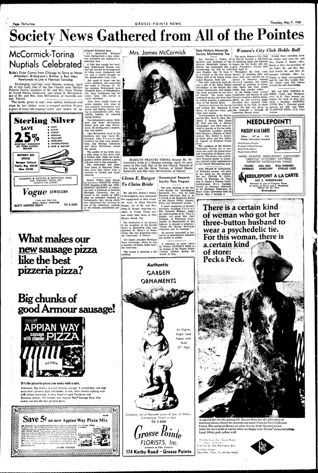 Rossepointe Complete News Coverage Of All The Pointes Grosse Spoon Fork Ub 2 Blue Diamond Sprays Pig Thirtytwo Ponte Thursday May 9 1968