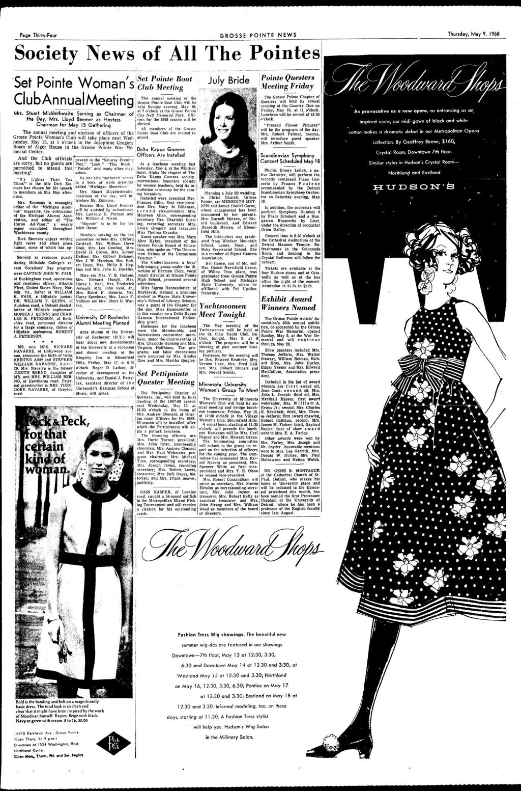 Page Thirty-Four GROSSE PONTE NEWS Thursday, May 9, 1968 Society News of