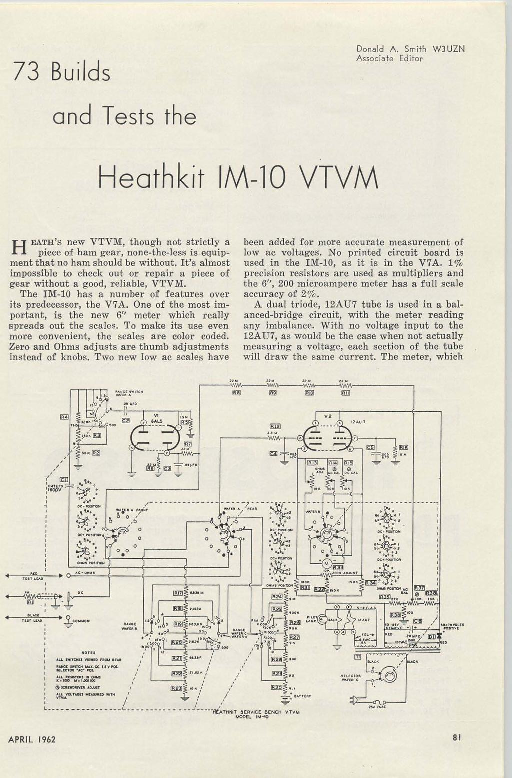 I Ateur 6m Ssb Xmtr Accurate S Meter 40m Zl Special Over 20 Live Line Detectorindicator Circuit Schematic 73 Builds Dona Ld A Smith W3uzn Associate Editor And Tests The Heathkit M