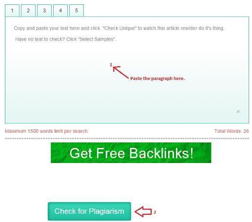 Now at SmallSEOTool s plagiarism checker page, paste the copied paragraph and