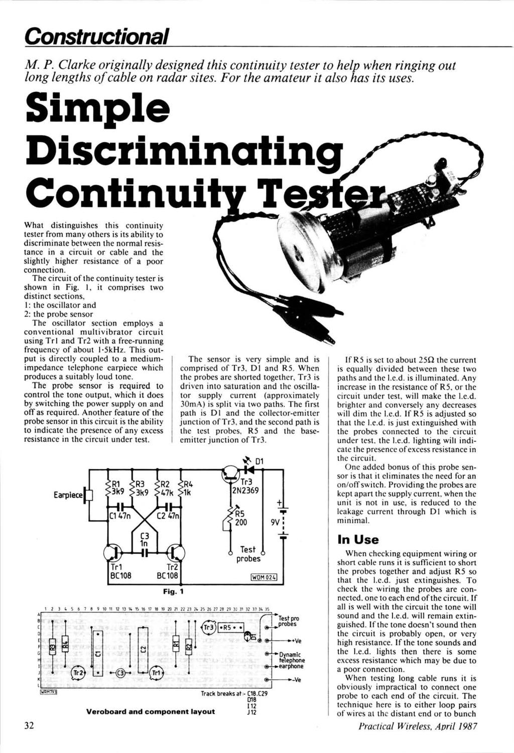 Pltjsimple Discriminating Continuity Tester Pdf Circuit Diagram Constructional M P Clarke Originally Designed This To Help When Ringing Out Long Lengths Of