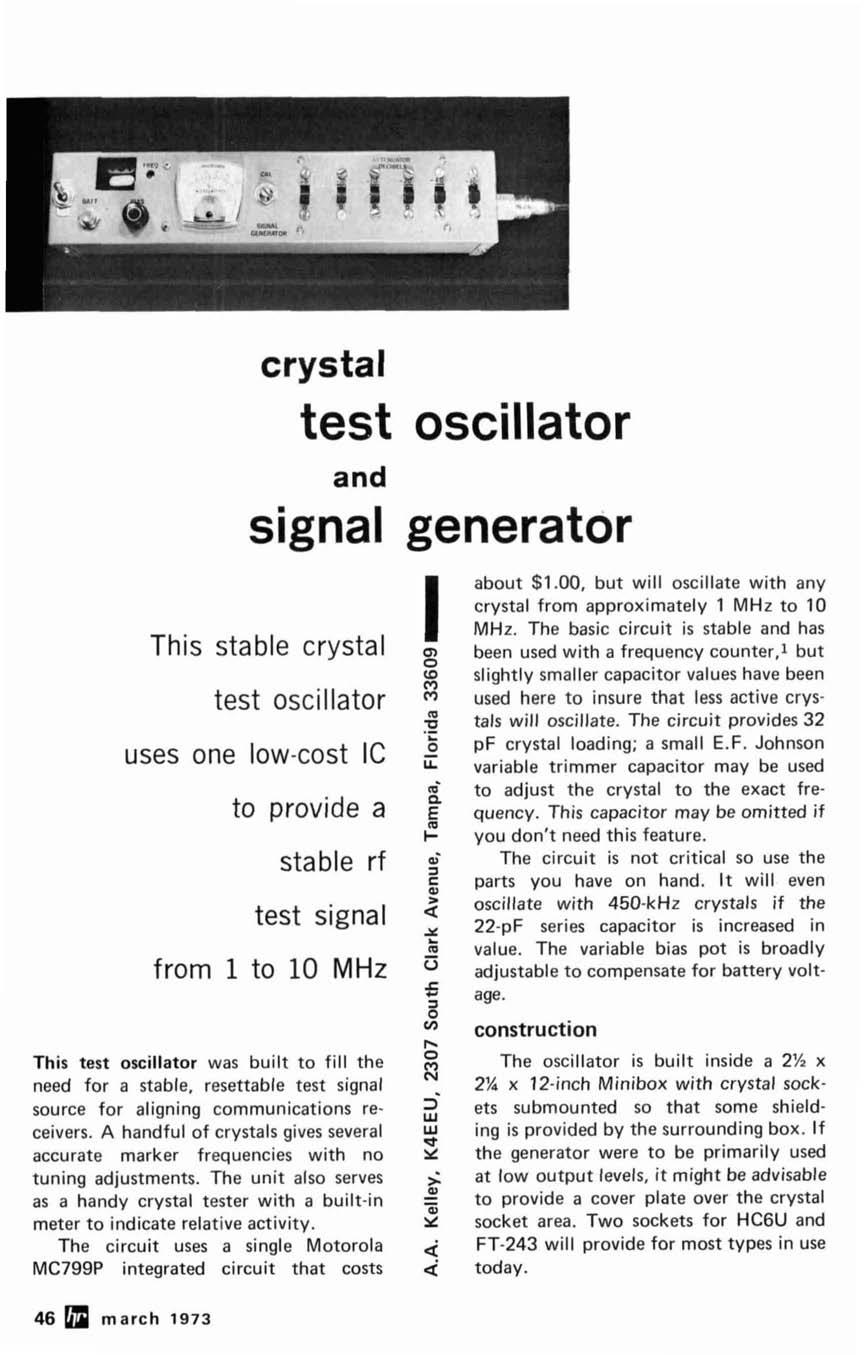 Ssb Transceiver Sol Idmstate 80me Er This Month Maqaziqe Focus Crystal Tester Diagram Test Oscillator And Signal Generator Stable Uses One Low Cost