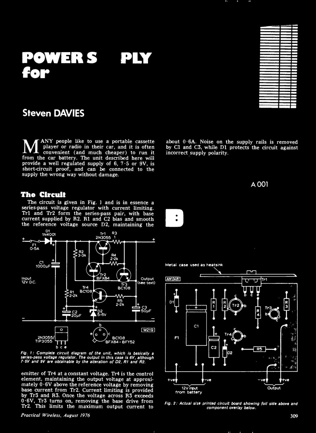 August Also Audio De Cassette Po Er Supply For Ca Pdf 12v To 220v Inverter 180w By 2n3055 Electronic Circuits Schematics The Circuit Is Given In Fig I And Essence A Series