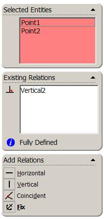 The property manager displays the relations valid for the selected geometry Add a Vertical Relation, choose
