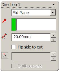 Extruded Cut Use Extruded Cut Feature to remove the cut using Mid Plane End Condition and a Depth of 20mm Select