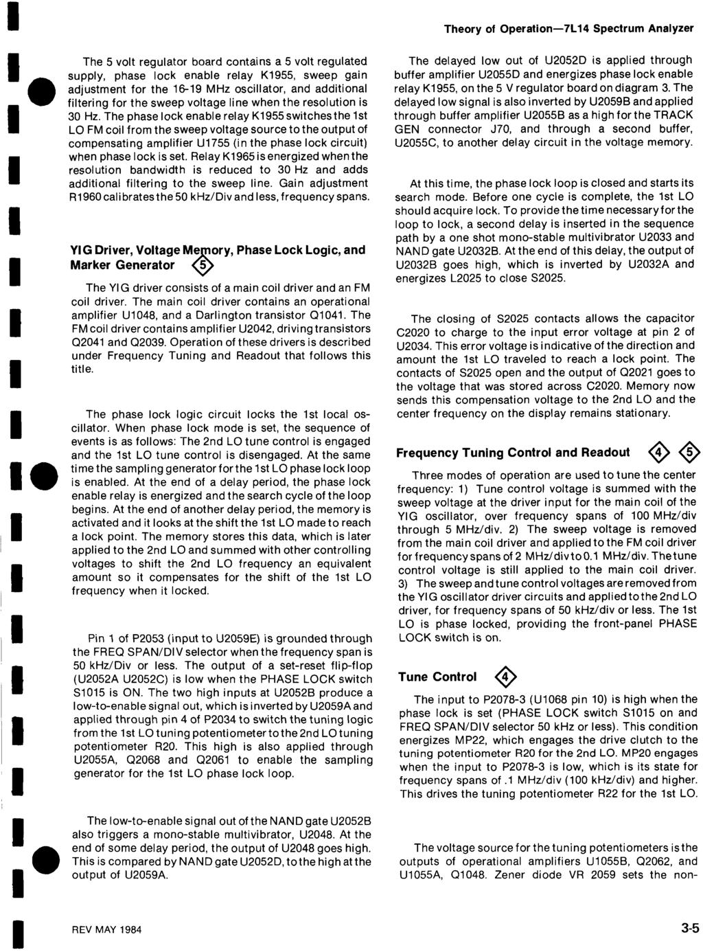 Spectrum Analyzer Tek Revised Mar 1985 Options Included Please Opamp Monostable And The Circuit Theory Of Operation 7l14 5 Volt Regulator Board Contains A