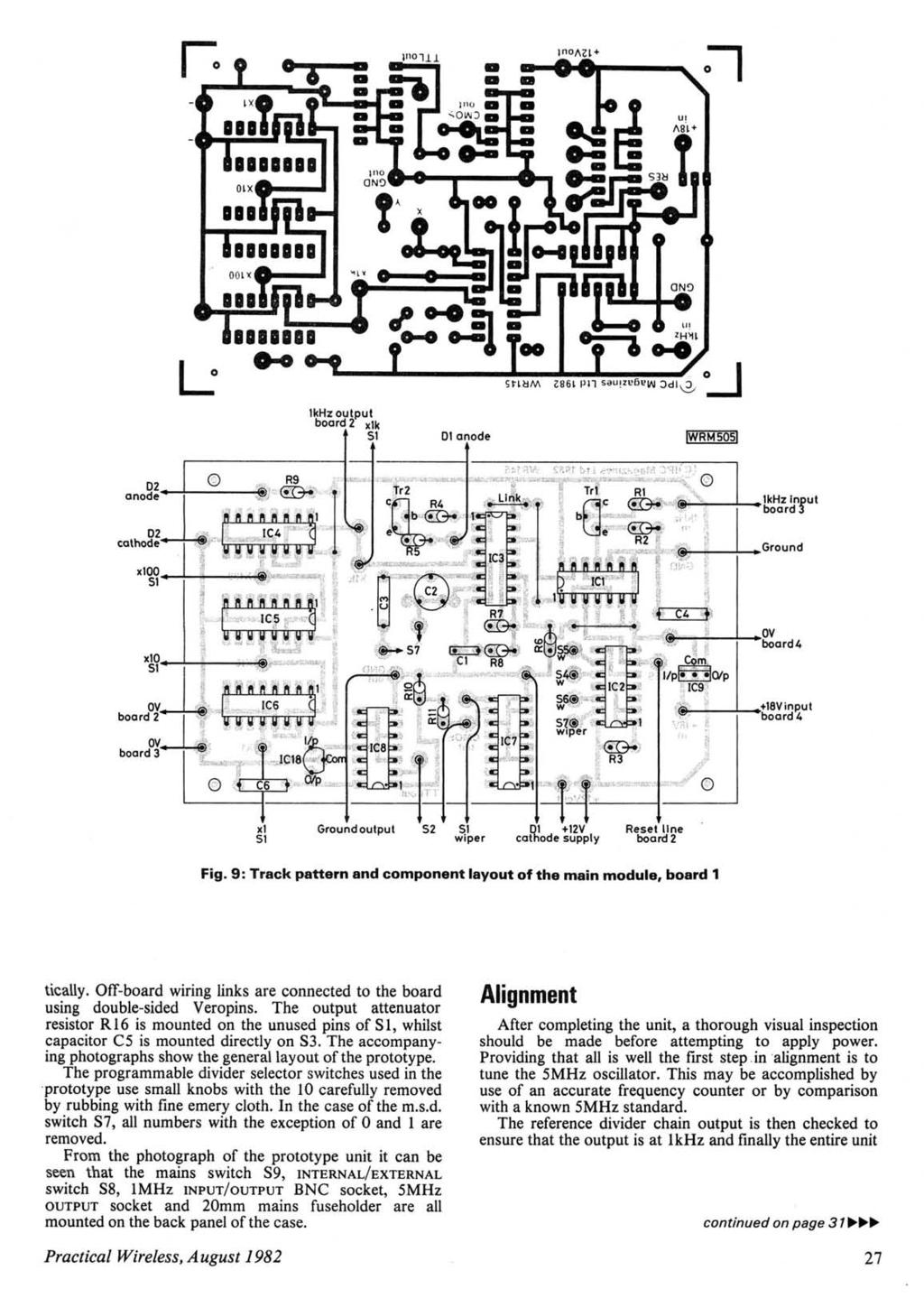 - - 1kHz output board 2 xlk 51 01 anode WRMSOS xl 51 51 wiper Reset line board 2 Fig. 9: Track pattern and component layout of the main module, board 1 tic ally.
