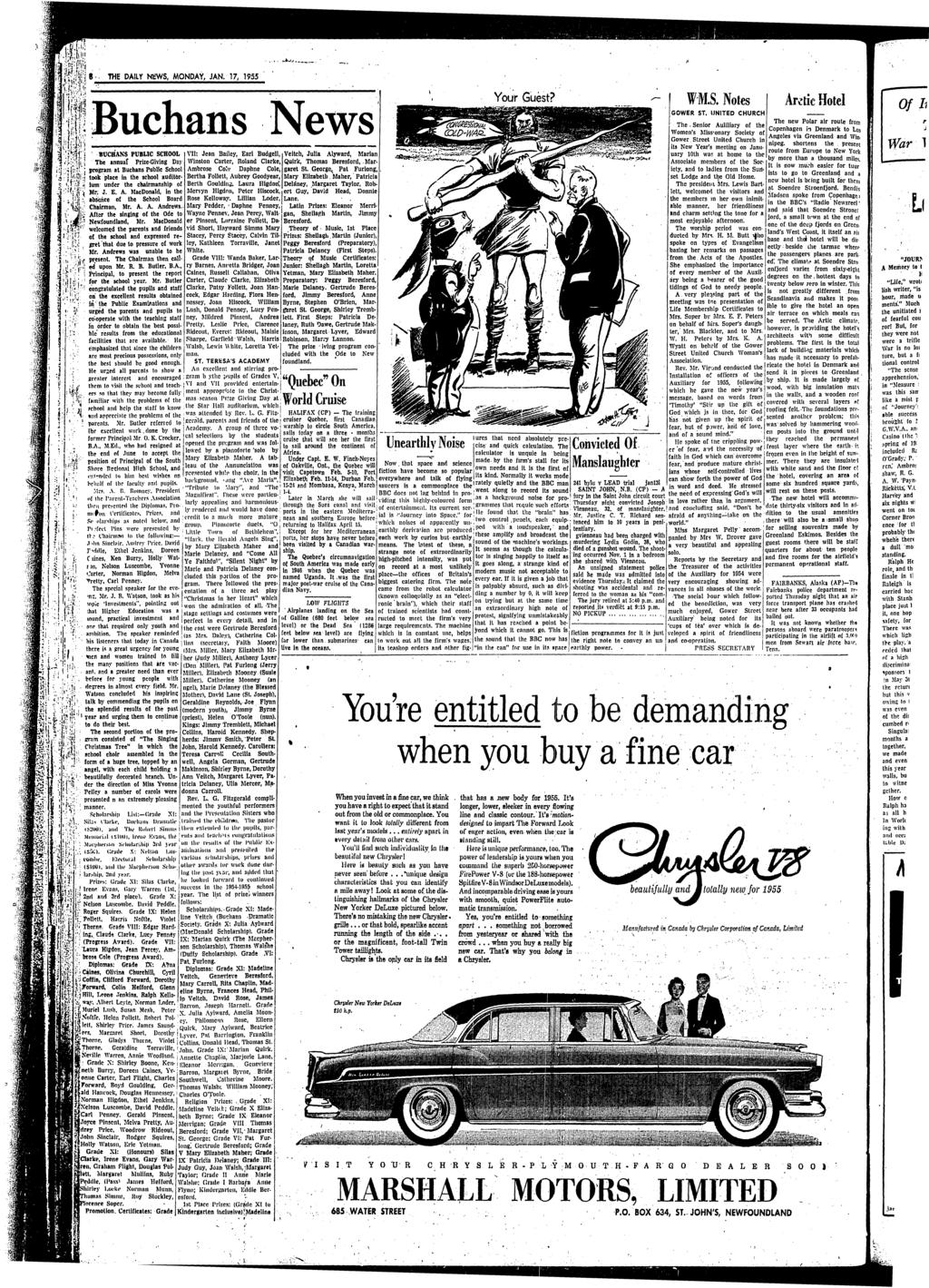The Daily News Price Vol 62 No 13 St Johns Newfoundland Starter And Anti Creep Circuit Wiring Diagram For 1953 Studebaker Champion Commander Daly N1 Ws Monday Jan 17 1955 W Ms Notes Buchans