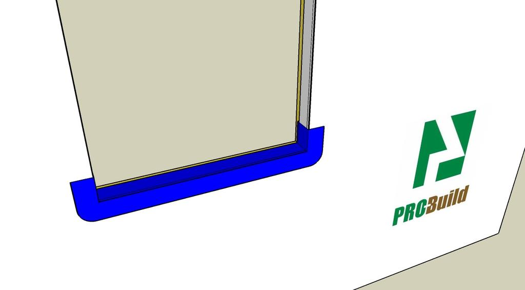 : Step 2 Apply the Sill Pan (flexible) Apply the Sill Pan (flexible) Cut 6 self-adhesive flexible flashing 8 or more longer than the opening (flexible shown in blue) Apply flexible flashing a minimum