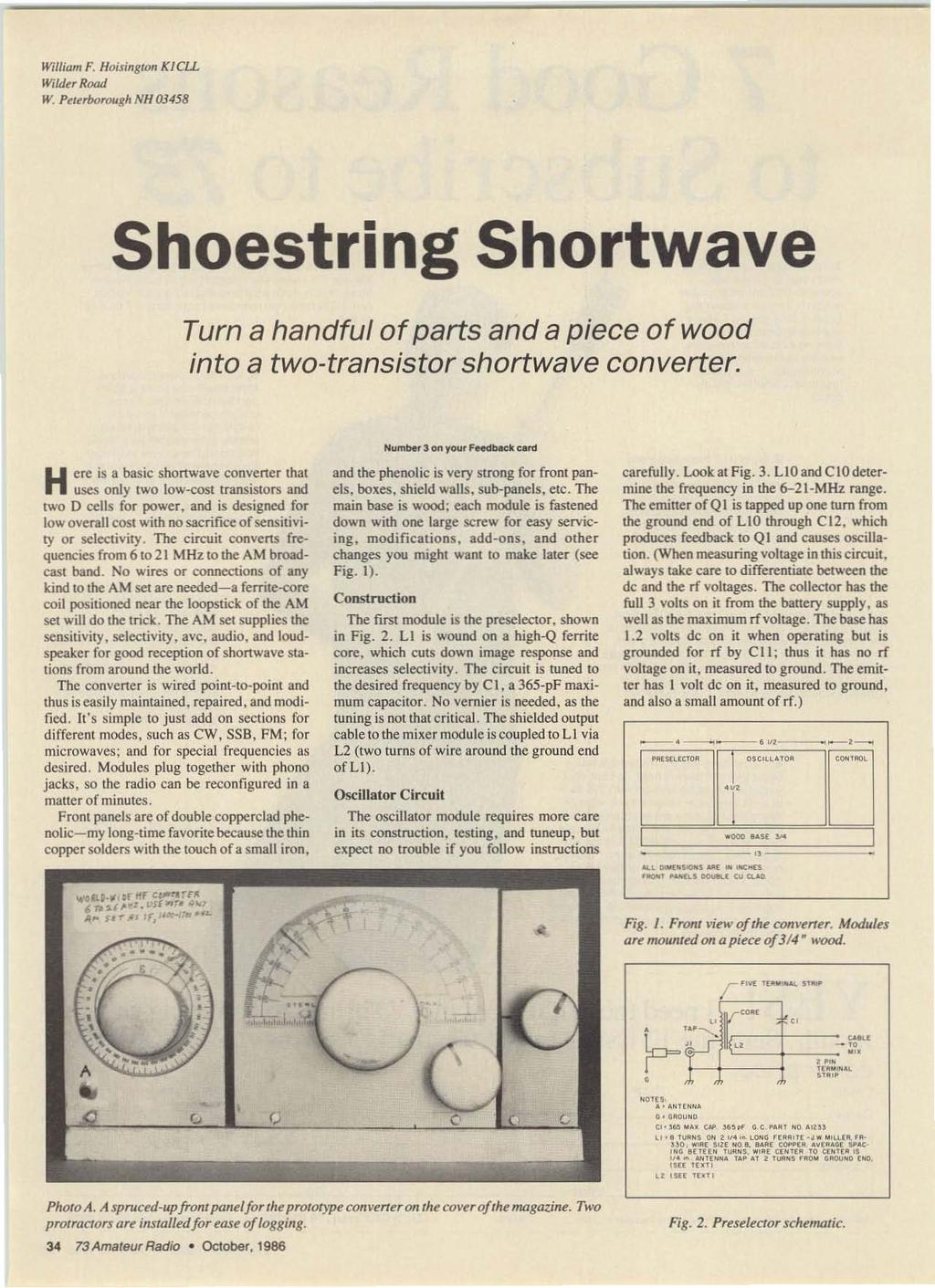 Shoesl Ri N Shortwave Remember When Rigs Were Built O Pine Bases Schematics Of Delabs Relay Driver Electromagnetic William F Hoiingtoll K1cll Wildtr Road W Peterborough Nh 03458 Shoestring