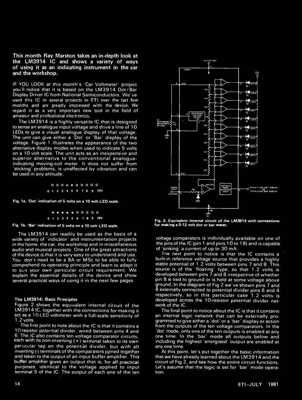 Internationa July 1981 124 Pdf Basic Circuit For Lm3914 We Explain The Essential Details Of Device And Show Several Practical Ways Using It 14 Circuits
