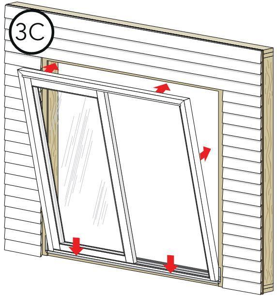 3SETTING AND FASTENING THE WINDOW (CONTINUED) E. Insert the window from the exterior of the building. Place the bottom of the window at the bottom of the opening, then tilt the top into position.