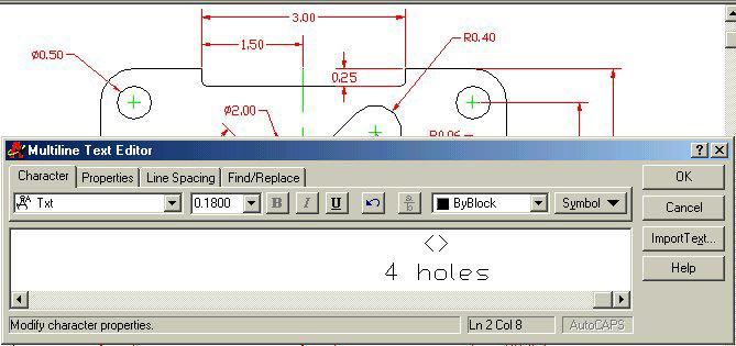 50 dimension stating that this description applies to 4 holes, select the Edit Text tool on the Modify II toolbar.