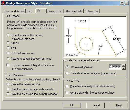 Figure 3.13 The Dimension Style Manager window There are 6 tabs in the Modify Dimension Style window; Lines and Arrows, Text, Fit, Primary Units, Alternate Units, and Tolerances.