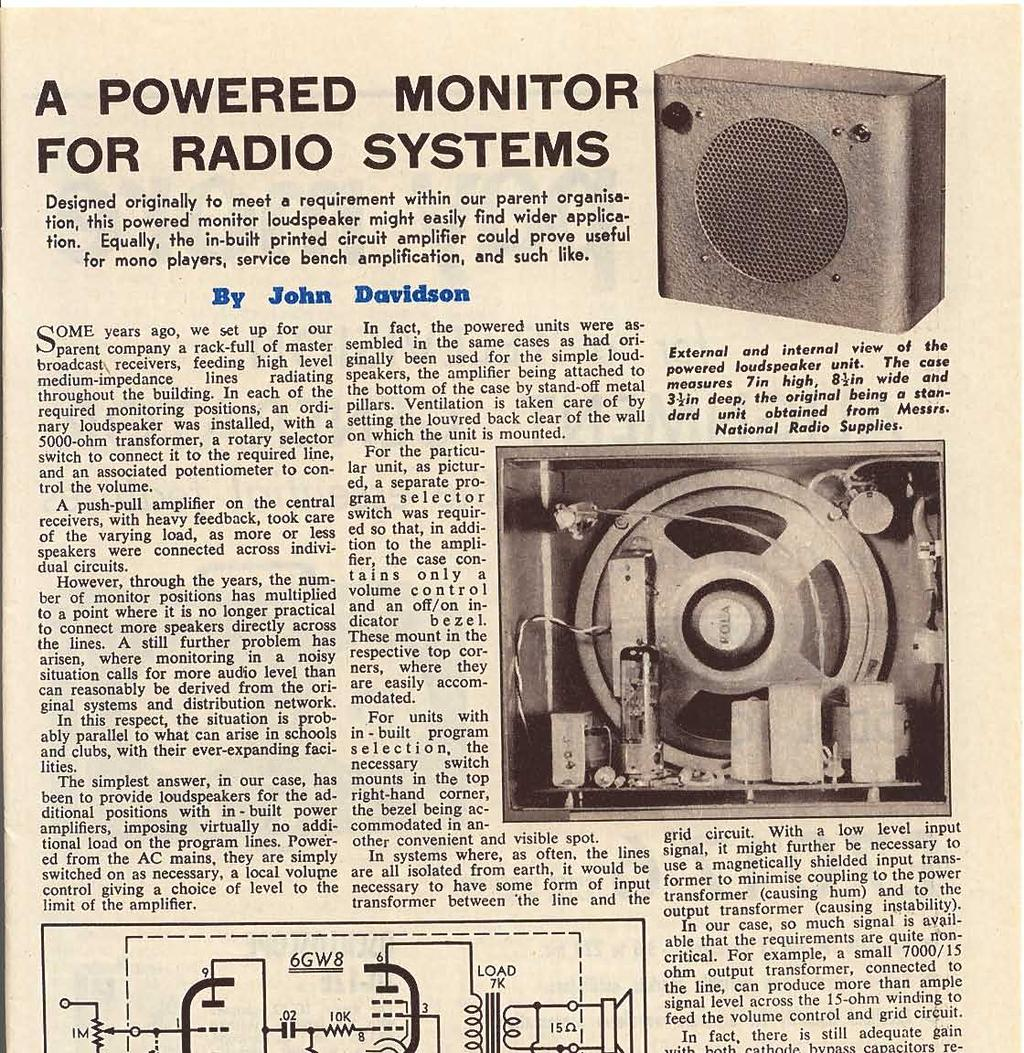 September 1964 Radio Vol 26 No 6 Iadio Television Y Fl Whitehead Industrial Hardware 30 Amp Circuit Breaker Double Pole A Powered Monitor For Systems Designed Originally To Meet Requirement Within Our Parent Organisation