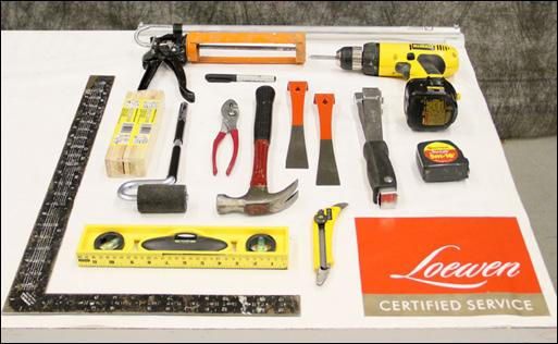 "TOOLS AND SUPPLIES 1 TOOLS CHECK LIST 1. laser level 2. hammer 3. pry bars 4. ladders 5. utility knife 6. screw gun 7. applicator foam gun 8. ""j"" roller 9."