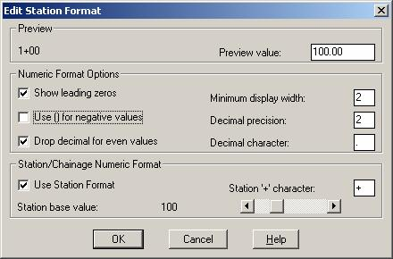 Standard Roadway Alignments Station Format, Station Labels To control how stations appear in AutoCAD Land Desktop, use the Station Display Format command.
