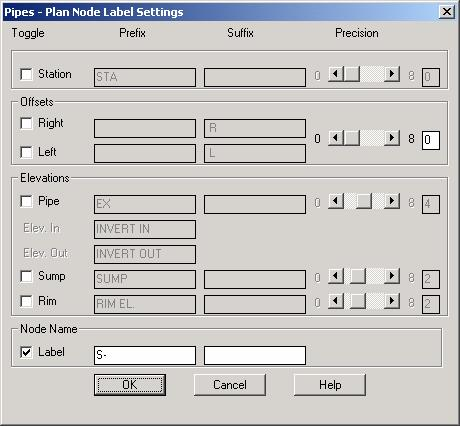 Structure/Node Drafting Labels In the Pipes - Plan Node Label Settings dialog box, you can label nodes with station and offset