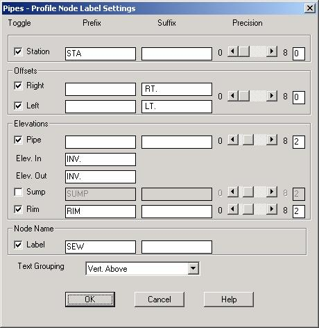In the Pipes - Profile Node Label Settings dialog box, you can label nodes with station and offset information, as