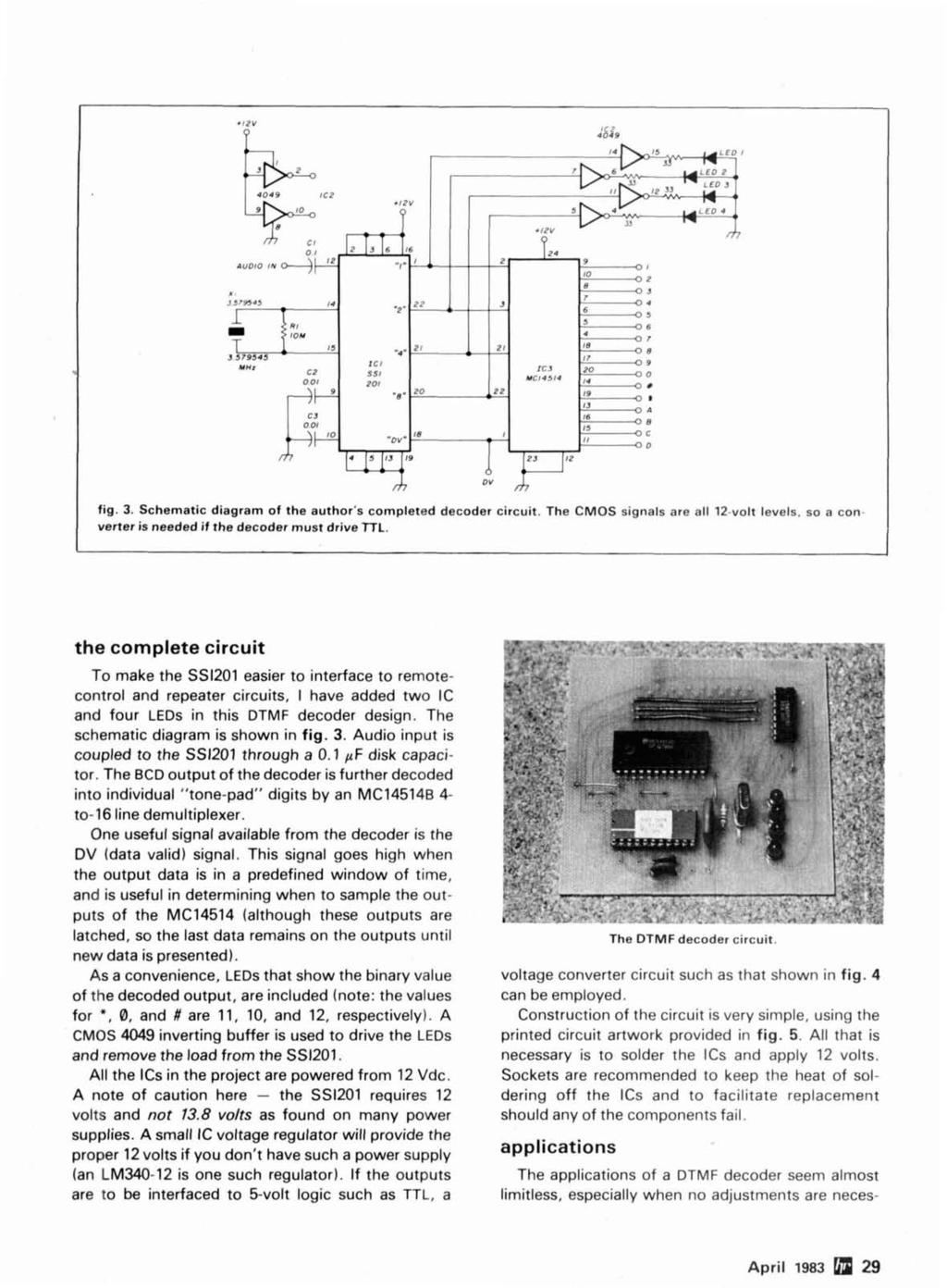 Morse Time Synthesis Remote Control Hf Ope Rat Ion Microprocessor Basic Infrared Transmitter Circuit Lm567 Schematic Diagram Of The Authors Completed Decoder Cmos Signals