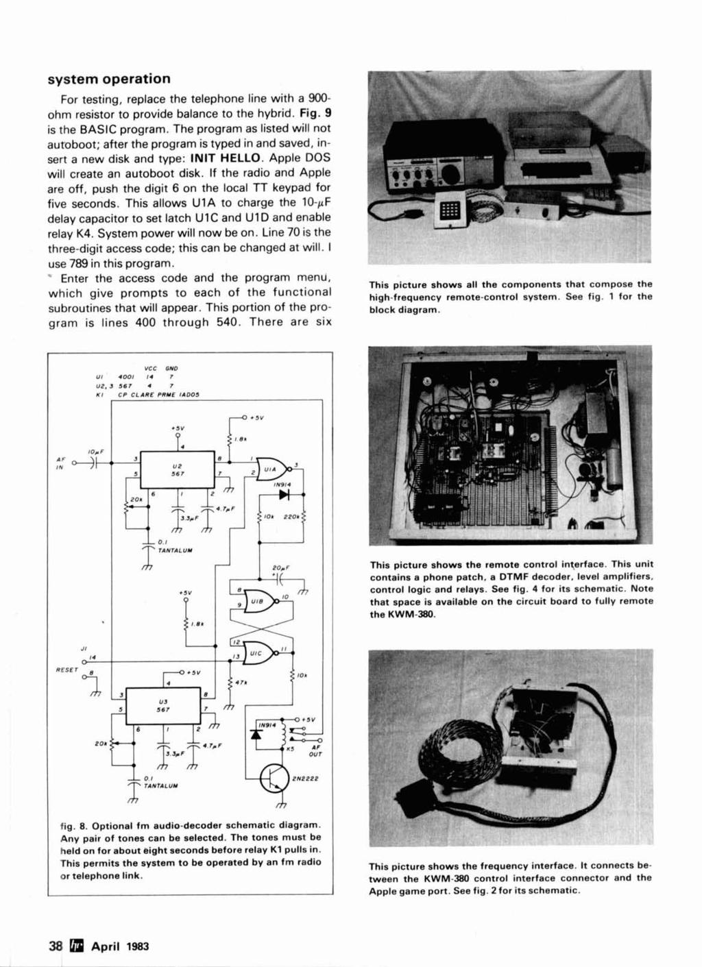 Morse Time Synthesis Remote Control Hf Ope Rat Ion Microprocessor Circuit Diagram Of Tester System Operation For Testing Replace The Telephone Line With A 900 Ohm Resistor To