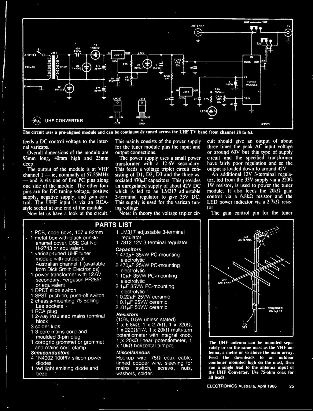 Australias Top Selling Electronics Magazine April 1986 Aust Timer 2001 Mitsubishi Galant Starter Relay Location 555 Circuits The Uhf Input Is Via An Rca Style Socket At One End Of Module