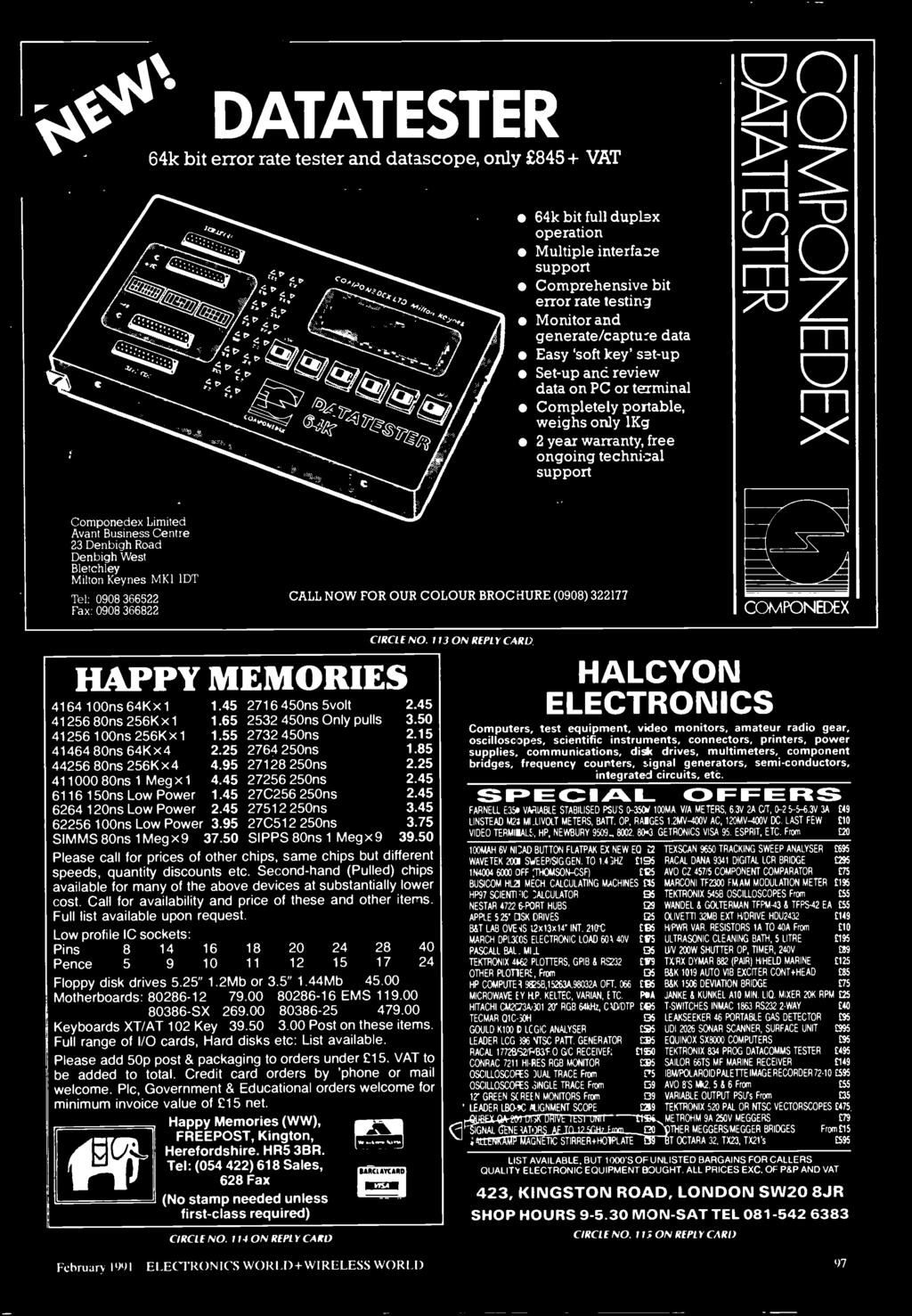 113 ON REPLY CARD HAPPY MEMORIES 4164 100ns 64K x 1 1.45 2716 450ns 5volt 2.45