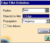 Creating a Fillet with Keep Edge