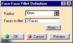 Face-Face Fillets (1/2) 1 Multi-select faces to