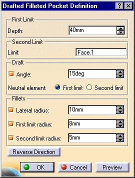 Drafted Filleted Pocket The Drafted Filleted Pocket function allows you to create a pocket which includes a general draft, a Lateral Radius, a First limit Radius and a Second limit Radius.