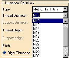 define the thread standard, select Metric Thin Pitch in the dialog box 5 To define the Thread