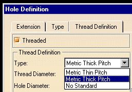 Tread Definition tab 5 Select the Threaded