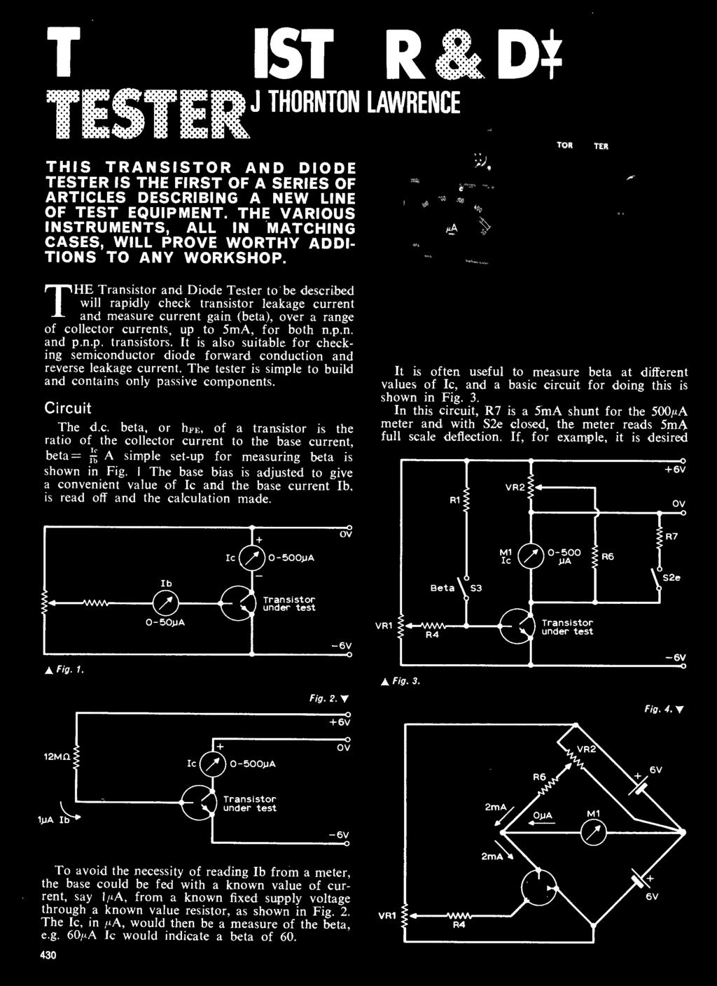 Us Office M Swedgal 258 Broadway New York Ny Ixac Ierc Beam Fig 422 Baxandall Tone Control Circuit Thornton Lawrence The Transistr And Dide Tester T Be Described Will Rapidly Check Leakage Current