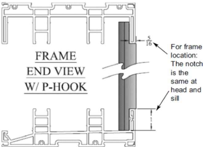 7. By-pass doors, skip to Step 9; Pocket Doors Only: Seal under entire length of P-hook (Item ) and position it on the wall at the pocket opening aligning the notches with the frame head and sill