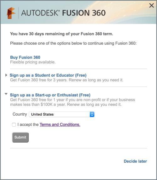 downloading for a Microsoft computer. 1. Download Fusion 360 from the Autodesk website. 2. Select Trial Counter in the upper toolbar of Fusion 360. 3. Select Register for Free Use 4.