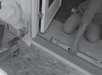 5 Shimming and securing perimeter of the door jamb Shim the door before it has been opened. Margins should be consistent around the door.