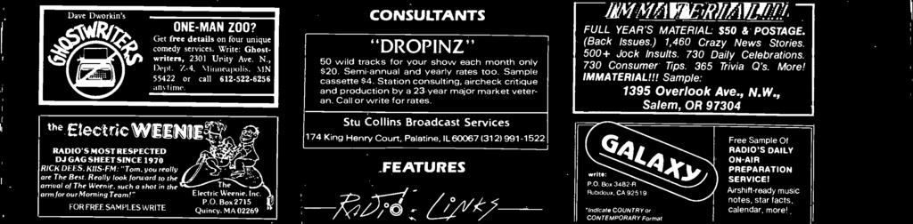 Stu Collins Brodcst Services 174 King Henry Court, Pltine, IL 60067 (312)991-1522 FEATURES Hollywood's hottest. right in your own studio!
