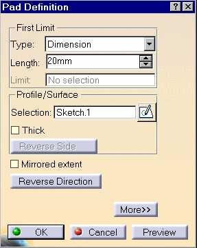 Creating Pads A pad is a sketched-based feature that adds material to a model. 1 Use the following steps to create a pad feature: 1. Select the profile sketch. 2. Click the Pad icon. 3.