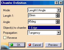 Creating a Chamfer Use the following steps to create a chamfer: 1. Select the edge(s) to chamfer. 2. Click the Chamfer icon. 3.