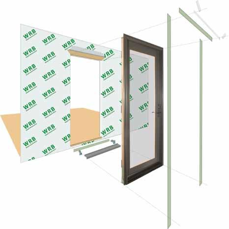 A G H F H H A. Apply Weather Resistive Barrier B. Apply Bottom Flashing Tape C. Install Sill Pan End Caps & Pan D. Caulk Sides & Top Nailing Surface, Set Door, Fasten E. Apply Side Flashing Tape F.