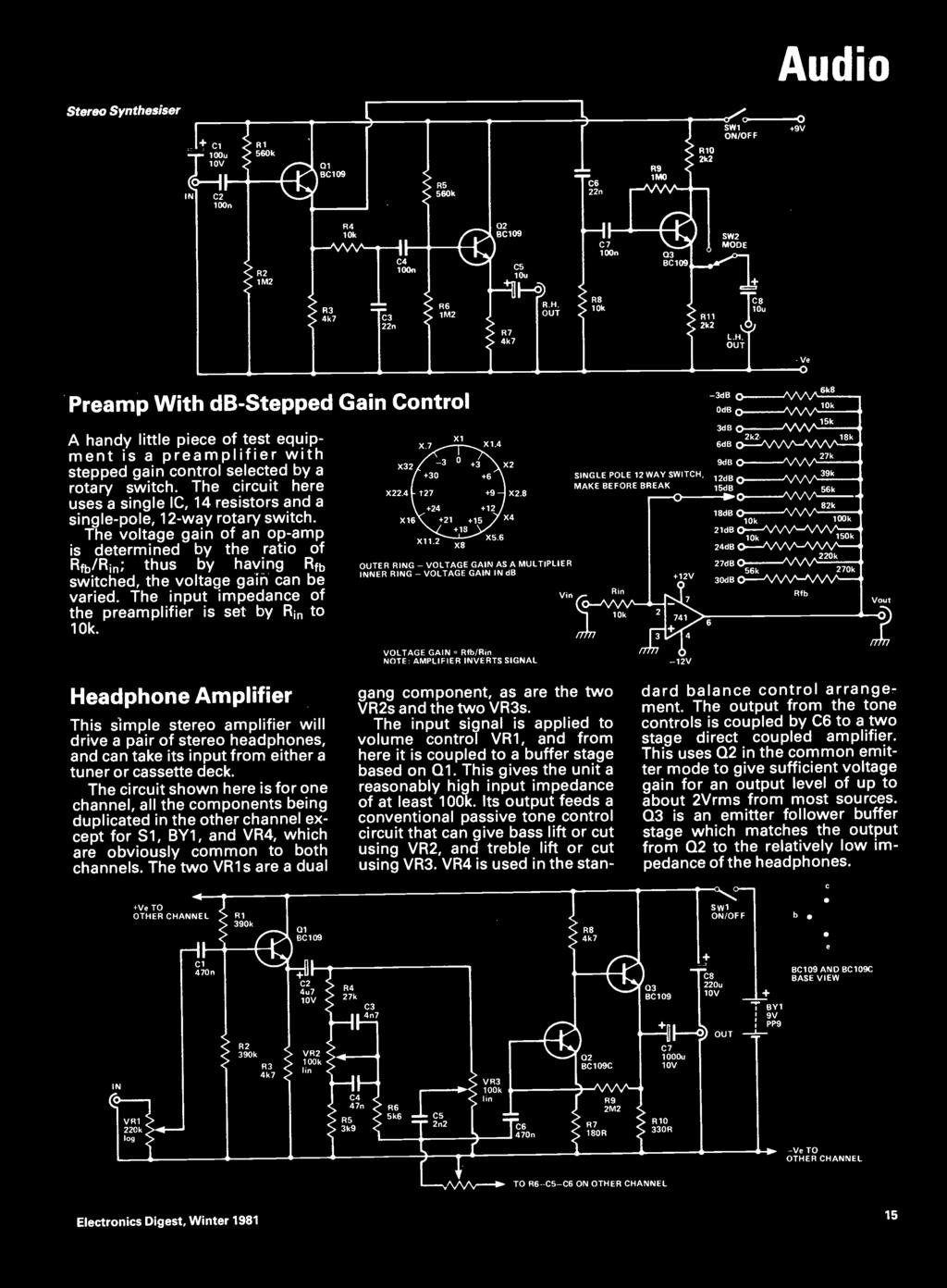 Sw1 On Off O Amplifier C5 220n Input 150 Cirtu Bc109c Out C7 10u Mono Stereo Preamp Based Lm387 Audio Synthesiser T7 56k R9 2k2 9v In 1n R5