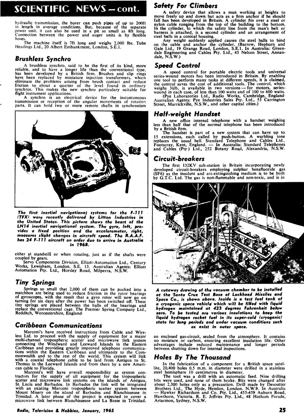 January 1965 Radio 26 Vol No 10 Television Panther 110 Rx5 Wiring Diagram Hydraulic Transmission The Borer Can Push Pipes Of Up To 200ft In Length Average