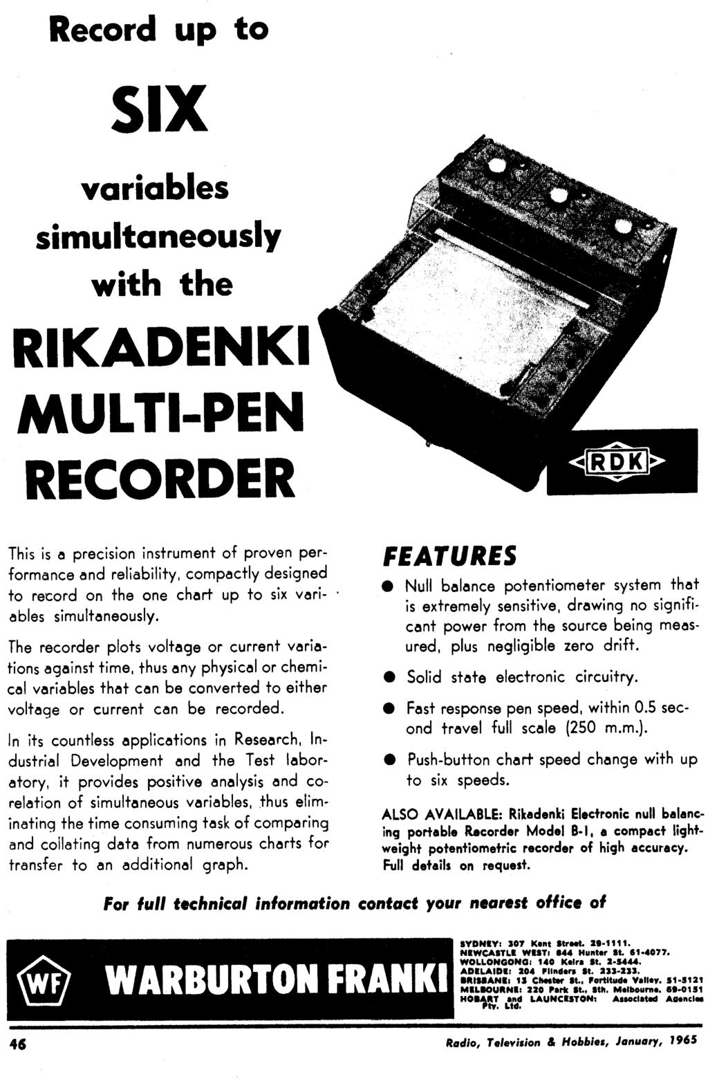 January 1965 Radio 26 Vol No 10 Television Panther 110 Rx5 Wiring Diagram Record Up To Six Variables Simultaneously With The Rikadenki Multi Pen Recorder This Is A